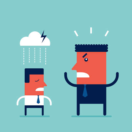 Angry boss screaming at his employee Deadline and Relationships at work business concept Vector illustration