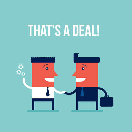 Business people shaking hands making a deal Teamwork Partnership Successful business concept Vector illustration