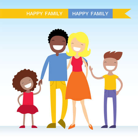 Portrait of four member of mixed race family posing together and happy smiling. Lovely cartoon characters.Vector illustration