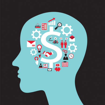 Infographics concept with head profile, brain, gears and business icons. Vector illustration Vettoriali