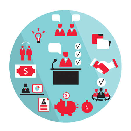 Flat design business elements Partnership money earning success concept Vector illustration