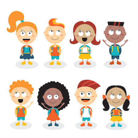 Happy kids cartoon characters isolated on white background. Back to school theme.Vector illustration Illustration