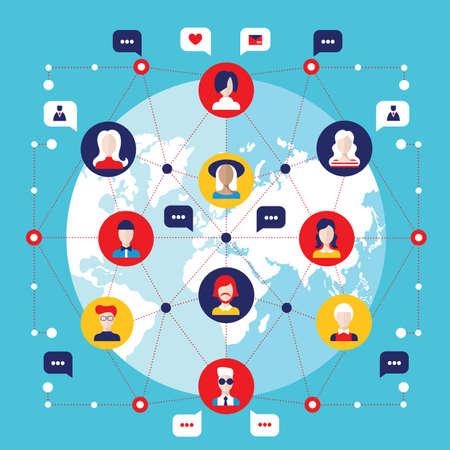 Concetto di rete sociale Elementi infografici di comunicazione globale Illustrazione vettoriale Vettoriali