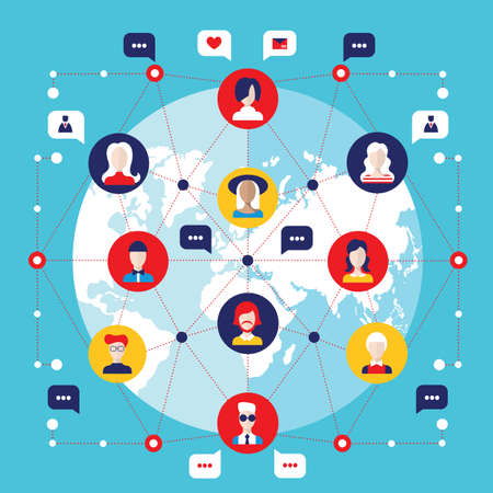 Social network concept  Global communication infographic elements Vector illustration