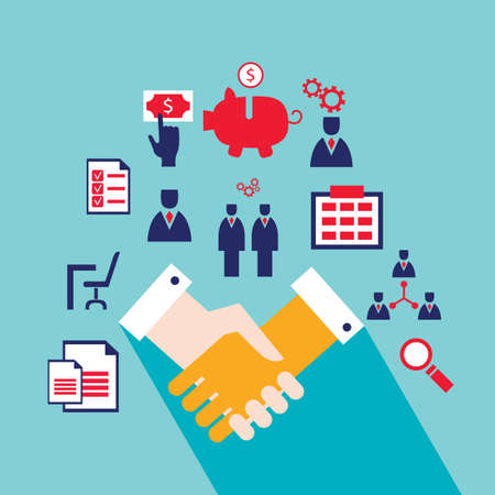 Handshake and icons for web Successful business concept Vector illustration Illustration