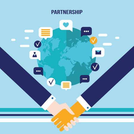 Handshake and icons for web on world map background Successful business concept Vector illustration Ilustração Vetorial