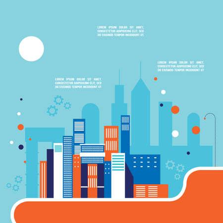 Sfondo del paesaggio urbano Architettura Stile moderno design piatto Illustrazione vettoriale