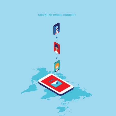 Social network and technology concept Modern flat isometric design Vector illustration Vektorgrafik