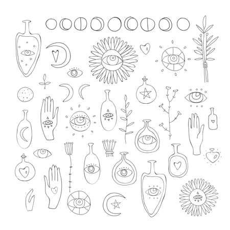 Hand drawn vector design elements Drawing of esoteric symbols Spiritual magic sacred signs and symbols on white background witchcraft Bootles with herbs Moon phases mystic things collection. Illustration