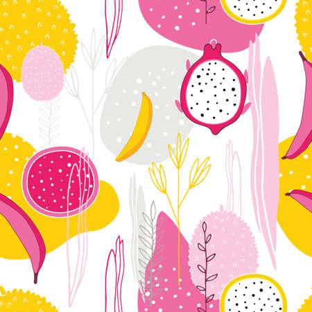Exotische bunte tropische Früchte Drachenfrucht Pitaya Pitahaya Bananen Blumen Blätter Abstrakte Elemente Nahtloses Hintergrundmuster Einzigartiges handgezeichnetes stilvolles Design