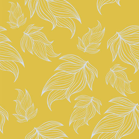 Seamless floral background pattern in yellow and blue color. Nature theme,leaves, hand - drawn abstract elements. Template for textile,paper, greeting card, postcard design 矢量图像