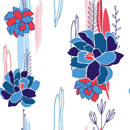 Hand drawn floral seamless background pattern for your design Vector illustration
