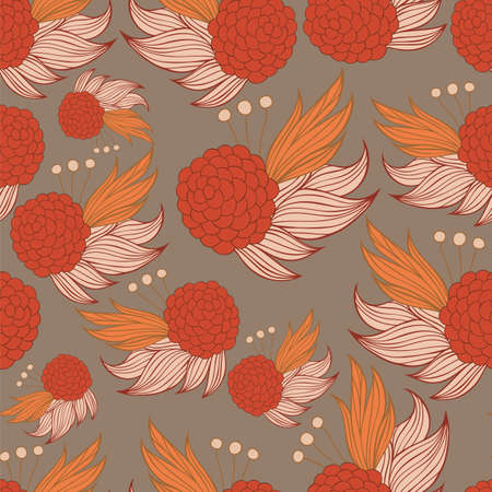 Colorful floral seamless background pattern. Wallpaper,seamless background, pattern fills, web page background,surface textures, textile design template. Vector illustration 矢量图像