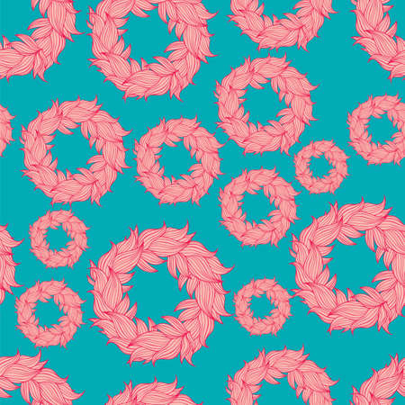 Seamless floral background pattern. Nature theme,leaves, hand - drawn abstract elements. Template for textile,paper, greeting card, postcard design Çizim