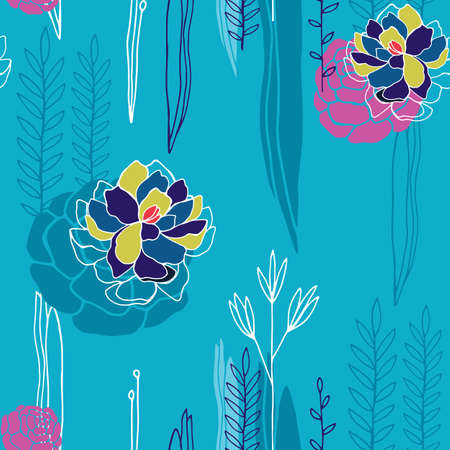 Hand drawn floral seamless background pattern Romantic flowers Vector illustration
