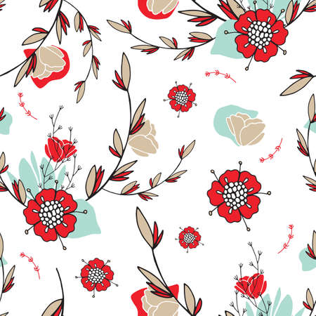 Hand drawn floral seamless background pattern Romantic lovely flowers Vector illustration 矢量图像