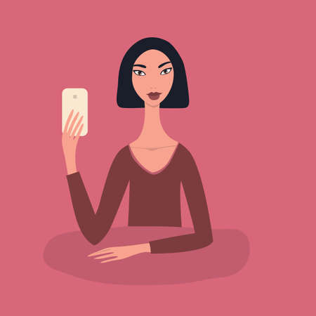 Lovely happy young girl Beautiful Asian woman with black short straight hair wearing red top sitting at table holding mobile phone in her hand Taking picture Make selfie Modern Technology concept Pink. Illustration