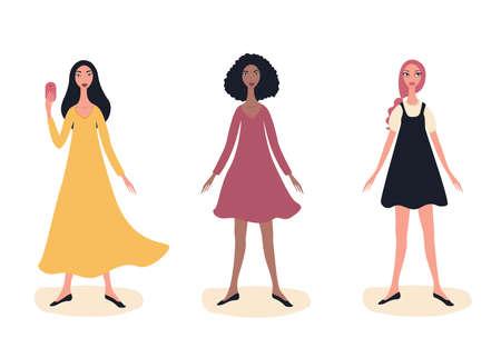 Tres chicas hermosas jóvenes Retrato de mujer de modelo de moda de longitud completa de pie vistiendo ropa linda de moda Multi racial Exótico aspecto asiático Afroamericano Caucásico Delgado Feliz Alegre Teléfono móvil. Ilustración de vector