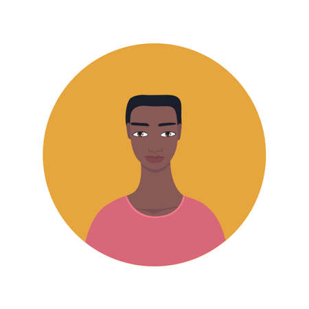 Young handsome African American Mixed Exotic looking man icon Dark skinned guy Portrait Perfect front face view Avatar profile picture for social media app Looks calm neutral mood wearing pink t-shirt.