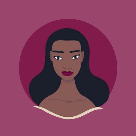 Portrait de visage de belle jeune femme Photo de profil Peau foncée look exotique femme afro-américaine Mixte insulaire du Pacifique Sud-est asiatique Tahitian beau maquillage et coiffure Noir longs cheveux ondulés. Vecteurs