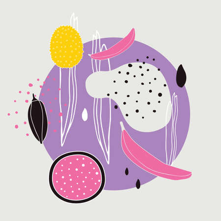 Stylish background with abstract hand drawn design elements polka dots circle lines shapes Exotic food Jackfuit Bananas Unique modern design in Pink Yellow Purple Black light gray and white colors. Çizim