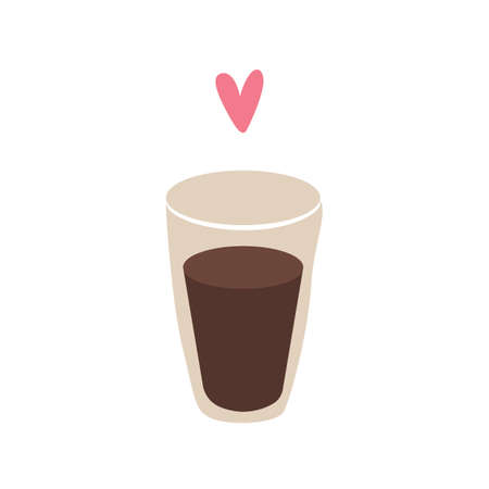 Glass of coffe with heart symbol. Flat design