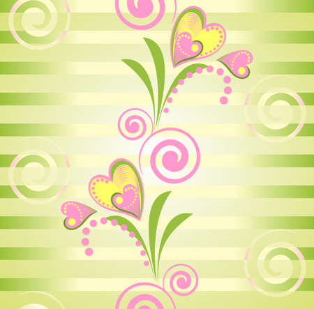 Colorful floral seamless pattern. Pink flower heart and Green strips background.  Vector