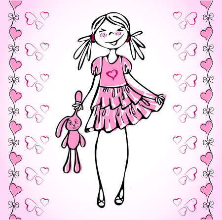 Lovely girl how fall in love and seamless heart. May be Valentine's card.