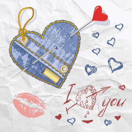 Heart shaped jeans emblem with hand drawn letter, hearts and button. Vector illustration