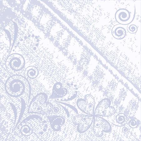 Grungy vectordenim met langzaam verdwenen bloemeneffect achtergrond. Jeans vintage textuur Stock Illustratie