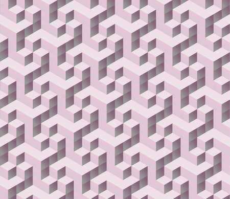 seamless pink 3d isometric cube seamless pattern. Abstract digital colorful geometric background.  Ilustração