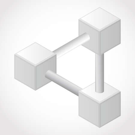 psychical: Abstract White design 3D Element , impossible object - vector art cube