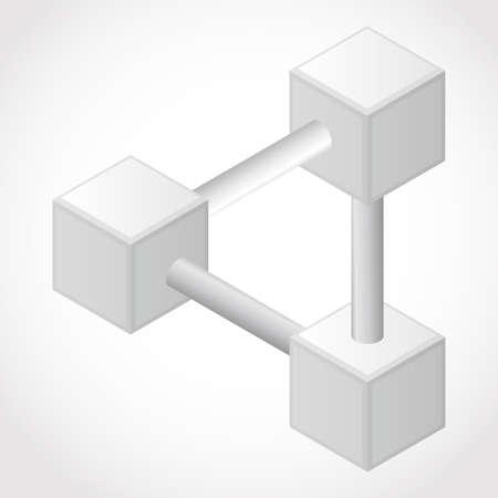Resumen Blanca elemento de diseño en 3D, objeto imposible - cubo de arte vectorial Ilustración de vector