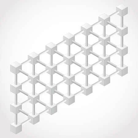 orthogonal: Abstract White design 3D Element , impossible object - vector art cube