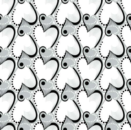 Retro black and white seamless heart background. Geometric mosaic seamless pattern Illustration