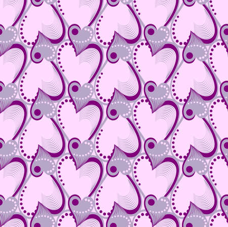 Valentijnsdag. Naadloos patroon met paarse en roze hartjes