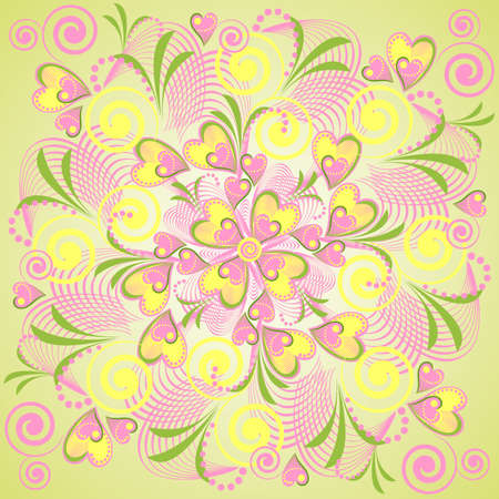 Seamless retro background with flower heart.  abstract background with nature theme. Vector