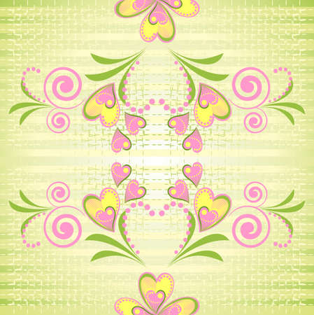Flower pink and yellow heart stripe seamless pattern. Stripy green seamless pattern with flower heart. Romantic endless texture. Stock Vector - 9932062