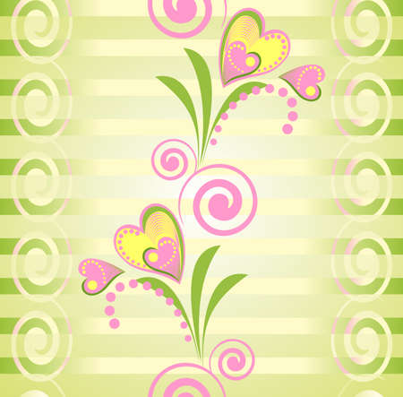 Flower pink and yellow heart stripe seamless pattern. Stripy green seamless pattern with flower heart. Romantic endless texture. Vector