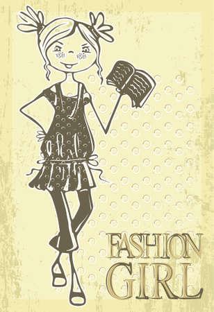 Met de hand getekende retro fashion glimlach meisje met boek.