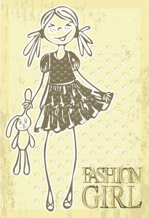 Hand-drawn retro fashion smile girl with toy.  Illustration
