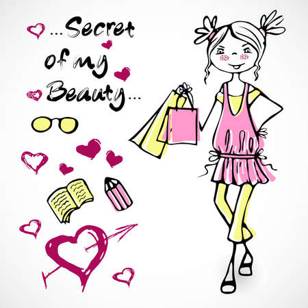 Cute fashion glamour smile girl on a pink dress in cartoon style Illustration