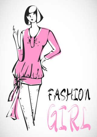 Fashion hand getekende meisje op roze jurk in sketch-stijl.
