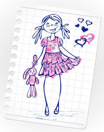 Hand-drawn fashion smile girl.Sketchy illustration of a cartoon girl model. Vetores