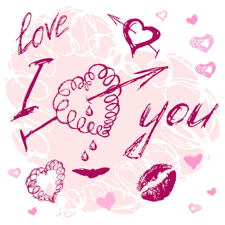 beau: valentine I Love You Lettering hand drawn stylish text