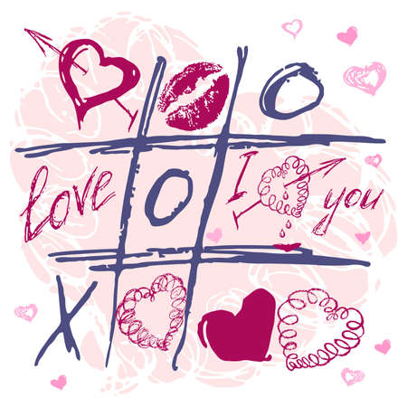 Hand drawn Tic Tac Toe Hearts, Valentine background
