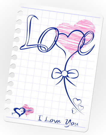 sweet love: love drawing doodles card. Hand drawn hearts, love, kiss, lipstick, heart shape, shape, stamp Illustration