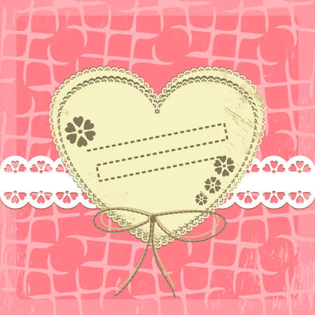 Vintage Frame Design For Greeting Card on lace grange background Vector
