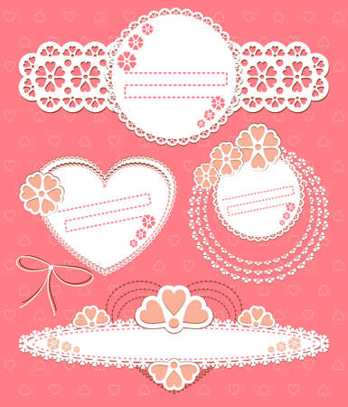 scrapbook cover: Vector set frames. Scrap template with blank space for your photos or text