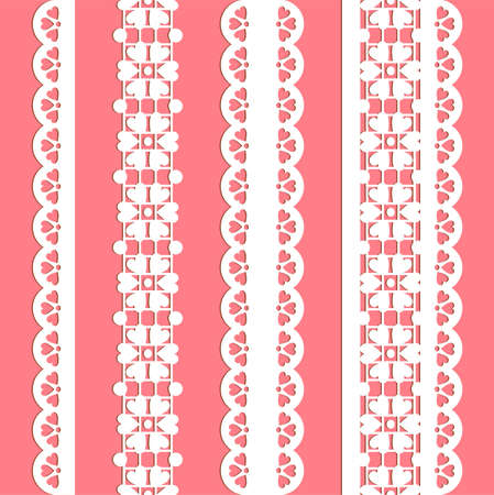 retro lace: cute straight lace set. Seamless lace trims for use with fabric projects, backgrounds or scrap-booking.  Elements can also be used as brushes Illustration